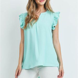 SOLID RUFFLED SLEEVE TOP - Teal blue